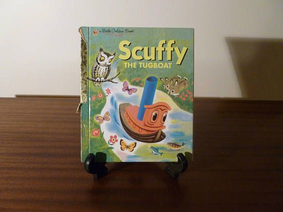 "$7  Vintage 1983 Book ""Scuffy The Tugboat"" - A little Golden Book / Kids Book / Adventures Down the River / Retro Golden Press Book"