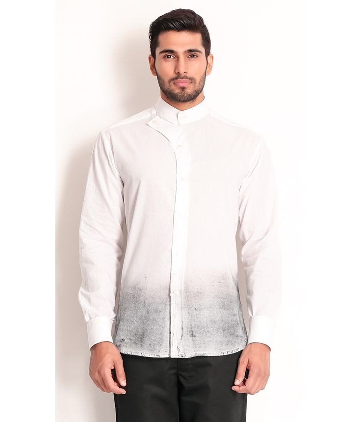 Samant Chauhan White Cotton Shirt with Ombre Technique, http://www.snapdeal.com/product/designer-wear-white-cotton-shirt/1778260563