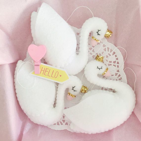 Plush Swan Felt Swan Princess With Crown Garland Swan Baby Nursery Decor Baby