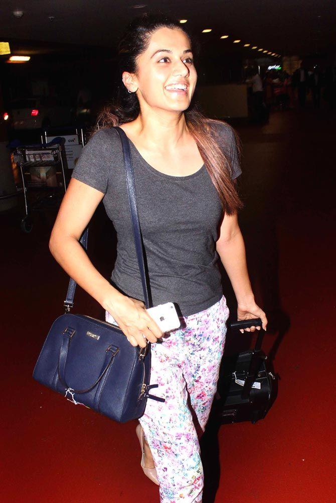 Taapsee Pannu at Mumbai airport. #Bollywood #Fashion #Style #Beauty #Hot #Sexy