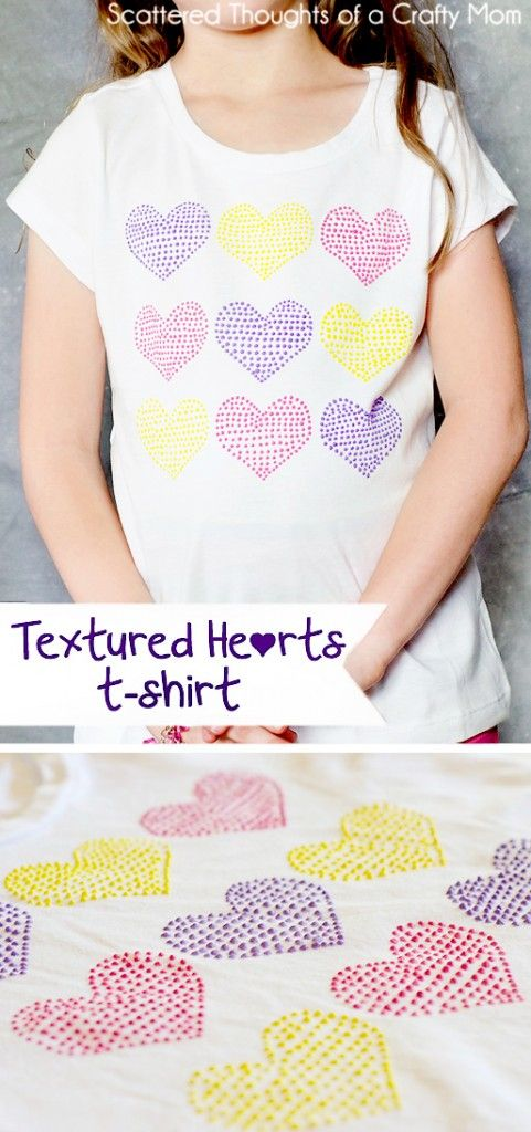 Textured Heart T-shirt with puffy paint and a freezer paper stencil.