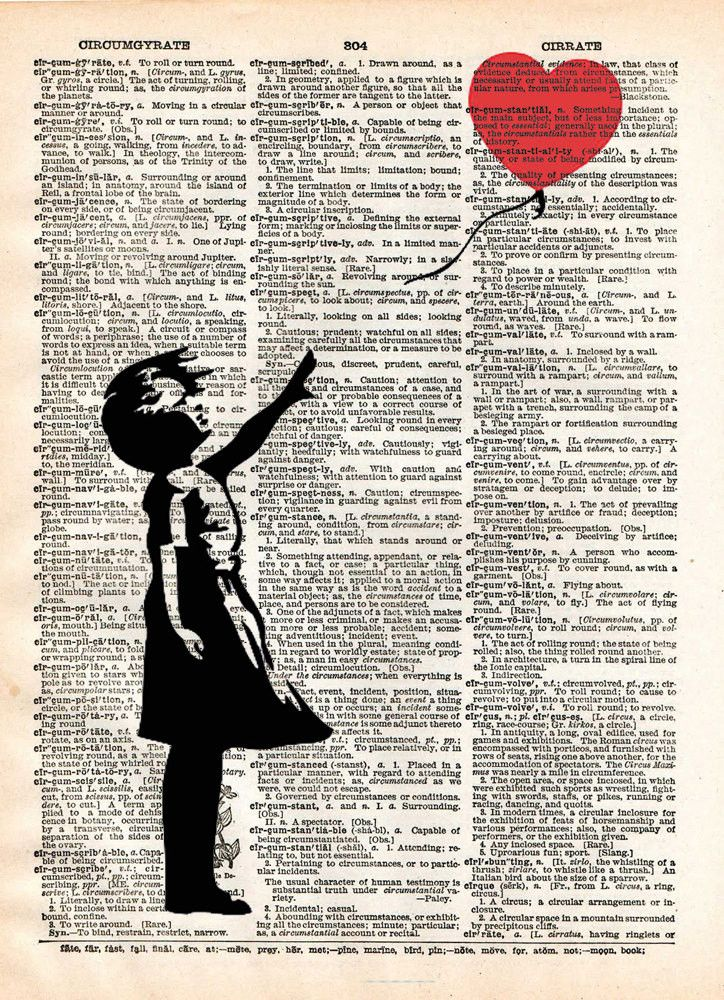Banksy girl with balloon, red balloon girl print, street art, vintage dictionary page book art print