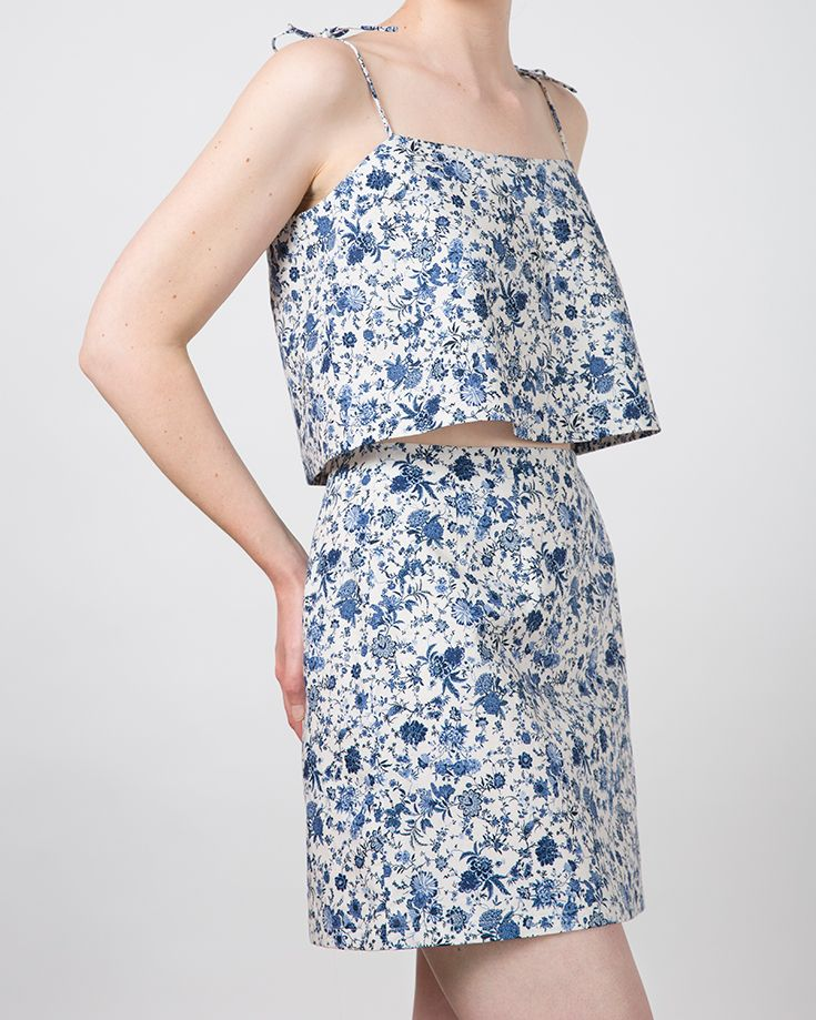 Plume Clothing. Flora Skirt and Penny Top in blue floral cotton/linen. Handmade in Melbourne.