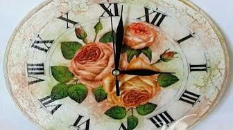 Découpage: Romantic Clock decorated with Glass Cracklè - YouTube