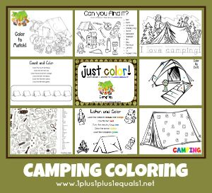 Just Color Free Coloring Printables camping theme