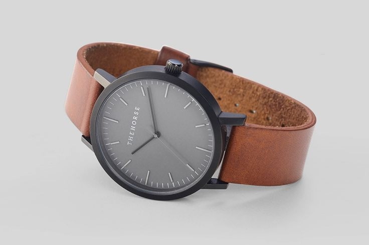 The Horse Watch - Matte Black / Tan Leather