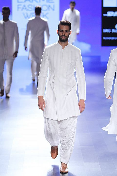 White on white seems to be the theme this summer. Anita Dongre's menswear collection #LFW #LIFW2016 #summerfashion #Frugal2Fab