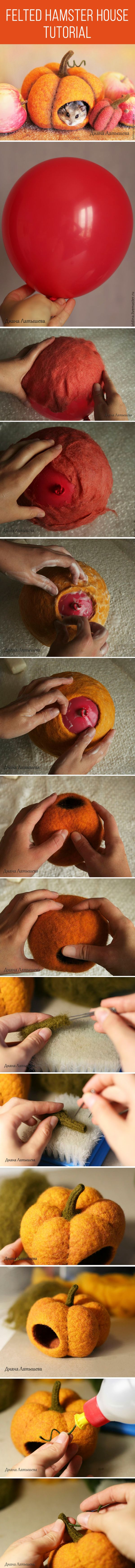 Felted hamster house tutorial