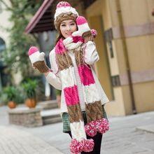 Verjaardag kerstcadeau winter meisjes multi-gekleurde uitlaat sjaal gebreide muts sjaal handschoenen drie stukken set een stuk cap handschoenen(China (Mainland))