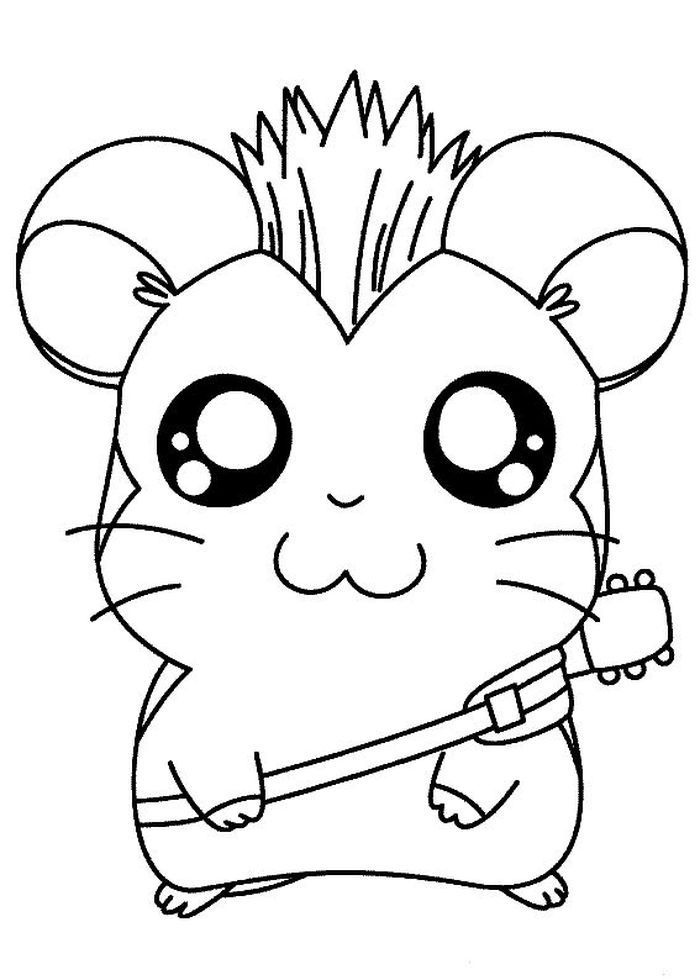 Cute Cartoon Coloring Pages : cartoon, coloring, pages, Hamster, Coloring, Pages, Printable), Sheets, Animal, Pages,, Cartoon, Characters