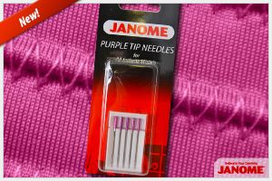 """Here's a quick way to tell which color needle you should use for your specific project. Red Tip Needle - Has a normal tip. Designed for regular sewing on fabrics such as cotton. Blue Tip Needle - Has a ball point. Designed for sewing on knits and synthetic fabric. Purple Tip Needle - Has a ball point with a special """"cobra"""" head. Recommended for high density designs and thick fabrics."""
