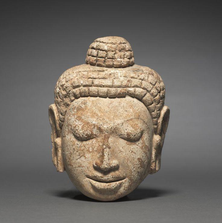 Head of Buddha, c. 7th Century  Thailand, Mon-Dvaravati period  stucco, Overall: 15.7 x 11.7 cm
