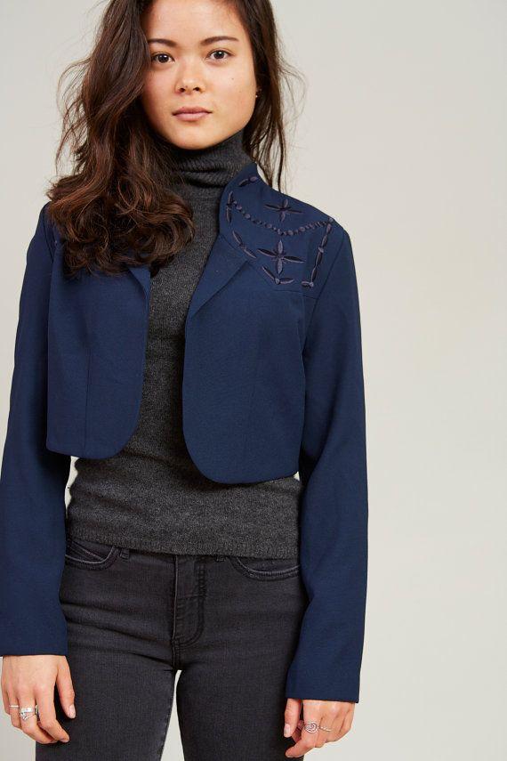 1980s Zahra Navy Blue Embroidered Cropped Bolero Jacket S