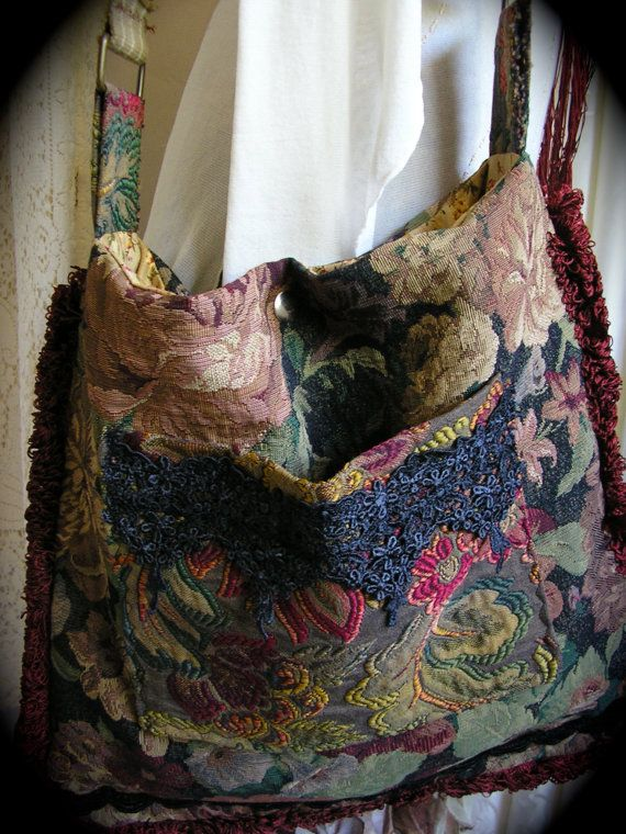 Upcycled Bohemian Tote Bag handmade large and eco friendly by Dede