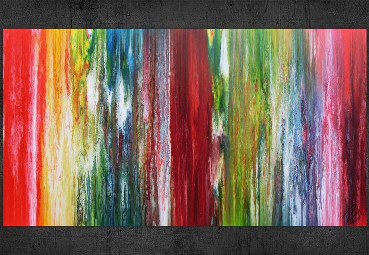 Buntes abstraktes Acrylbild modernes Gemälde viele Farben sehr bunt 100x180cm von xxl-art.de