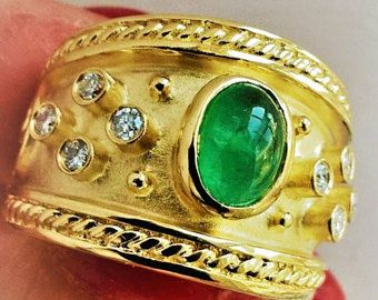 Etruscan Natural Oval Emerald Cabochon Diamond Heavy 14K YG Cigar Band Stacking Statement May Birthstone Ring Vintage Estate Right Hand