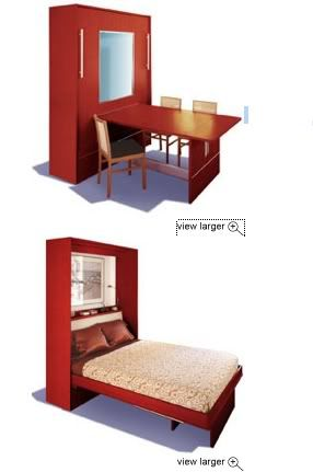 Talk about space saving! Bed and wall mounted table. Great for a small apt.