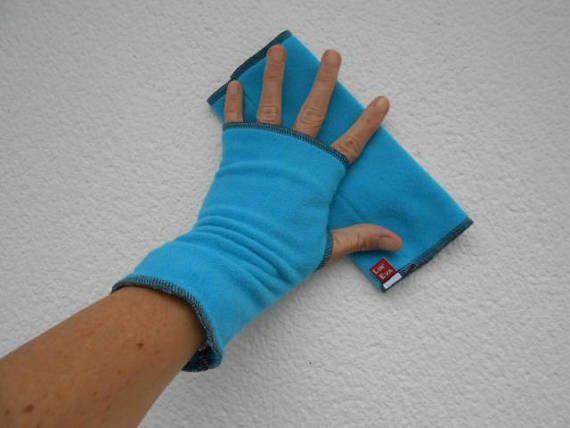 Mitaines gants polaire femme lin'eva douce agréable turquoise