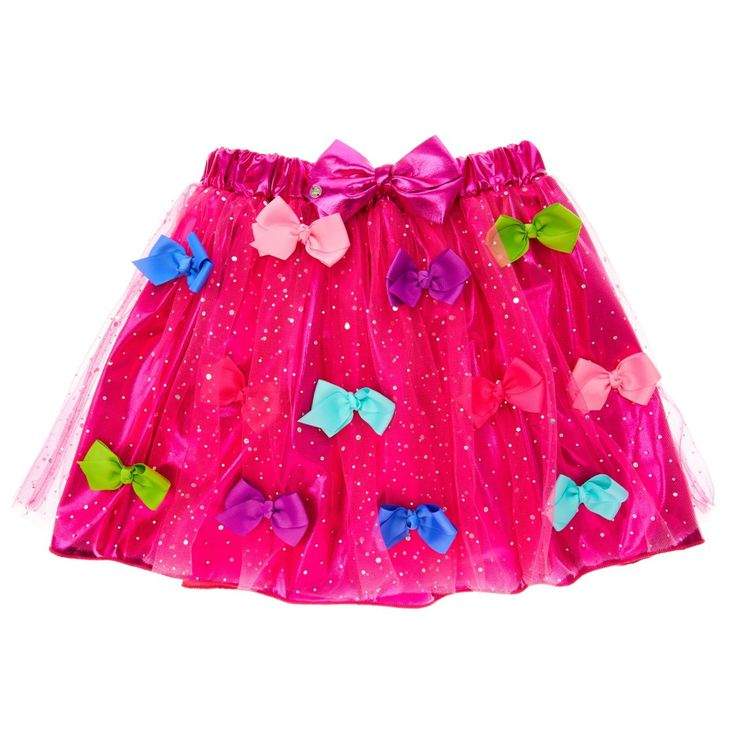 JoJo Pink Bow Tutu | The perfect dress-up accessory for mini Siwanators! This girly pink tutu is covered in sparkly silver dots and bows in shades of pink, purple, blue and green and features metallic pink lining and a metallic pink elasticated waistband with a JoJo bow on it. Bow heaven!