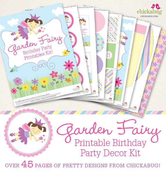 Garden Fairy birthday party printables collection - Over 45 pages of…