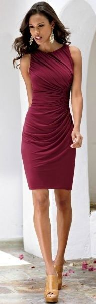 "Super alternative to a Little Black Dress.... a wine color looks sophisticated and feminine, not so ""deadly"" like black."
