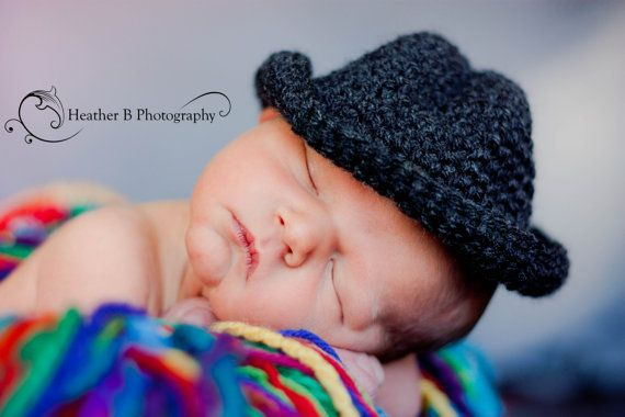 Dark Grey Heather Fedora for Newborn Baby boy by NRBDesigns, $20.00
