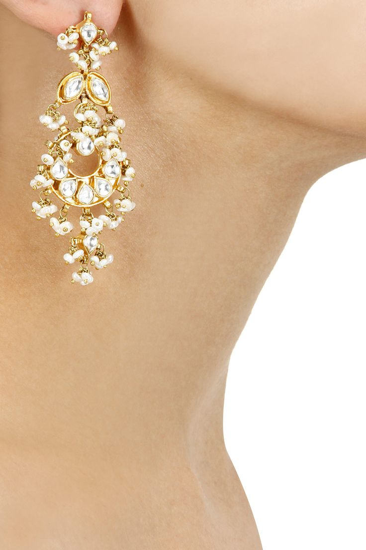 Gold plated white sapphire and pearl drops earrings available only at Pernia's Pop-Up Shop.