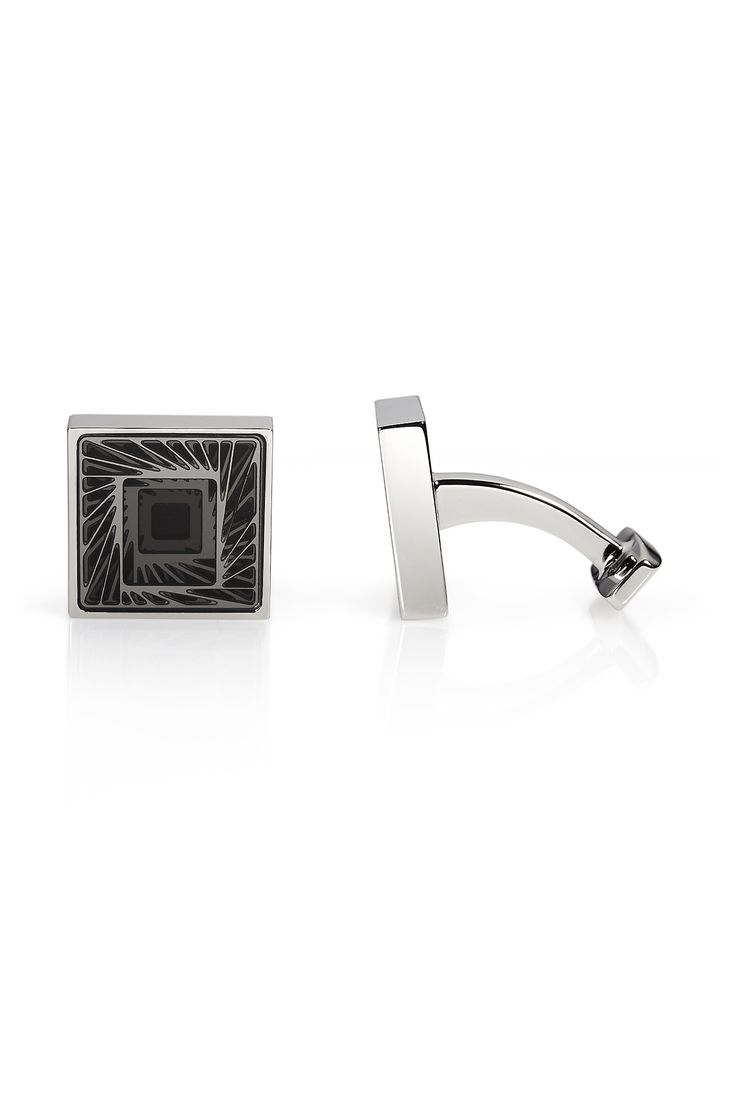 'Hendriko' | Stainless Steel & Enamel Squared Cufflinks by BOSS
