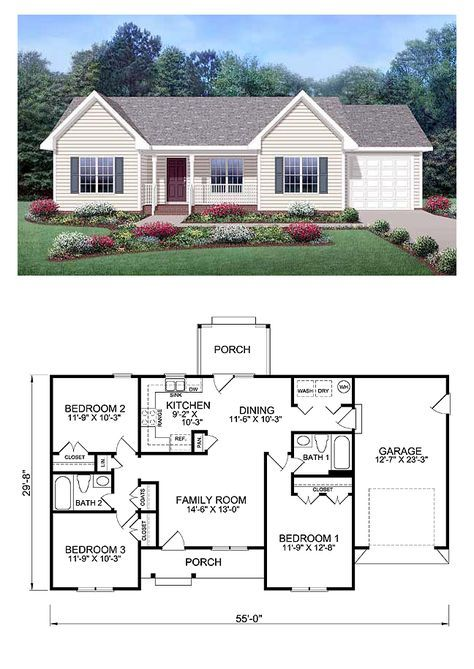 Ranch Style COOL House Plan ID: chp-39172   Total Living Area: 1150 sq. ft., 3 bedrooms & 2 bathrooms. With its built-in personality and charming style, this three-bedroom home will warm your heart as it gives happy sanctuary to your family. All it needs is your personal touch to make it your enjoyable abode for years to come.  #houseplan #ranchstyle