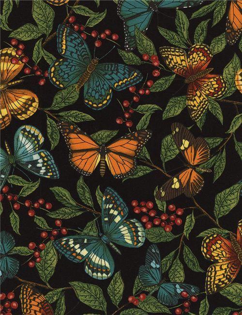 Schwarzer Stoff mit bunten Schmetterlingen grünes Blatt von Timeless Treasures - Tierstoffe - Stoffe - kawaii shop modeS4u