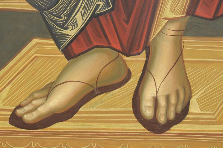 The holy, sacred, beautiful feet of our Master are especially  regarded as a part of Jesus more humble features. Nothing is said of them other than a mary? cleaned them in view of the passion he was to suffer, washing them with her   tears of sorrow (for her sins). All Jesus' travels using sandals of the Gospel of peace give us hope.