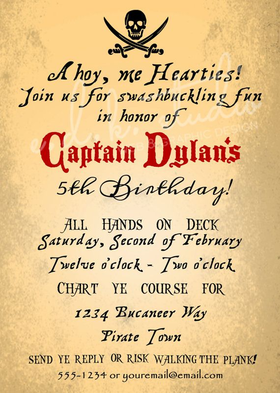 The 25 best ideas about Pirate Party Invitations – Pirate Party Invite