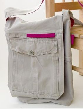 Free Pattern for Turning Cargo Pants into a Messenger Bag!