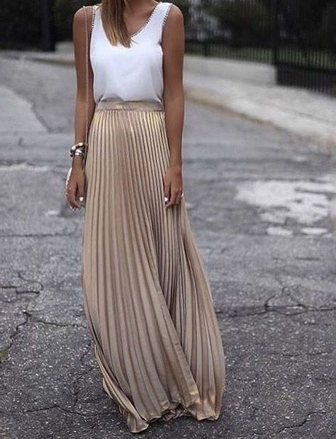 Metallic Beige long pleated skirt maxi length spring summer golden festival