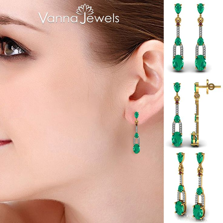 Certified Diamond Dangle Earrings Solid Yellow Gold Emerald Ruby Gemstone Wedding Collection