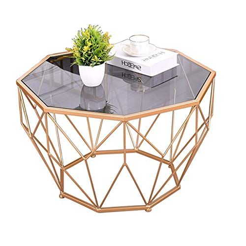 Wrought Iron Coffee Table Tempered Glass Table Top Solid Metal