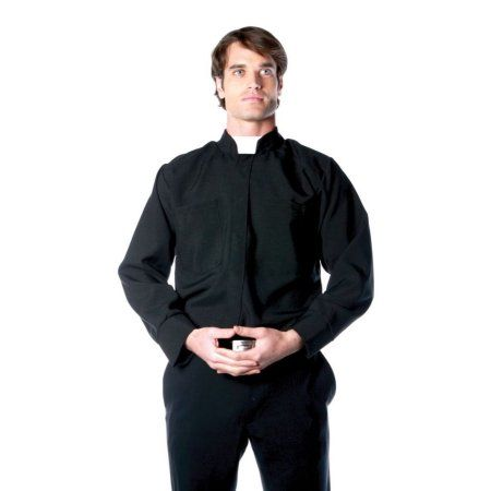 Priest Shirt with Collar Adult Halloween Costume Fancy Dress