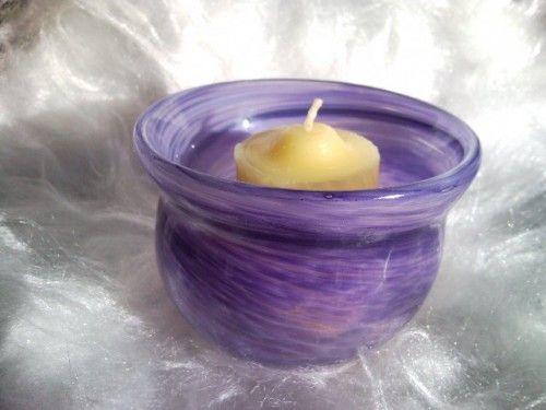 Blown Glass Votive Holder - Lavendar Swirl | GlassSculptureOrg - Candles on ArtFire
