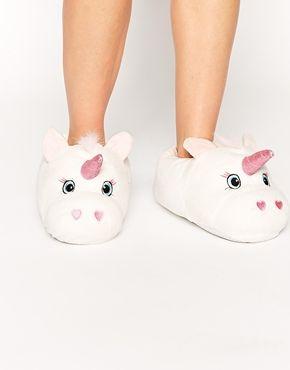 New Look Unicorn White Slippers