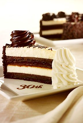 Cheesecake Factory 30th Anniversary Chocolate Cake Cheesecake. Chocolate cake, cheesecake, fudge, chocolate Rice Crispies