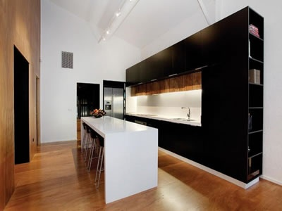 Modern Kitchen, Stone Counter, Stone Bench Top, High Ceilings, Timber Floors, White Kitchen Timber Kitchen, Apartment Kitchen, Kitchen Renovation, Black Kitchen