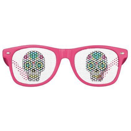 #Funky Sugar Skull Design Boho Love Retro Sunglasses - #Halloween happy halloween #festival #party #holiday