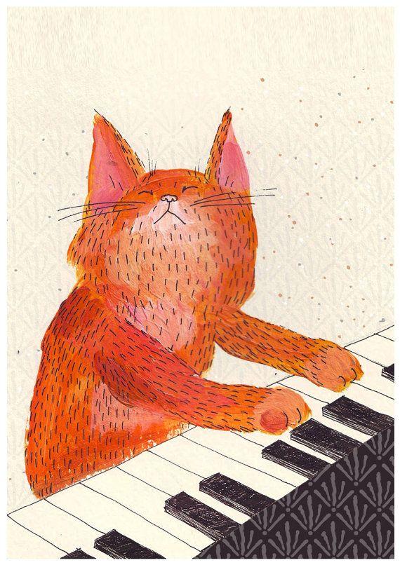 Katze spielt Klavier Grafik Ingwer Musik Katze A4 von SurfingSloth