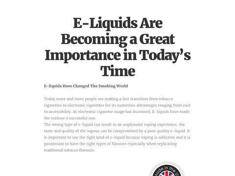 E-Liquids Are Becoming a Great Importance in Today's Time