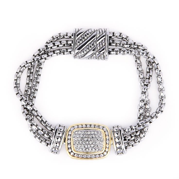 Elegant Multi Strand Bracelet. Intricately crafted with crystal rhinestones, with rows of box chains, most importantly secured with magnetic clasp. Perfect for busy mommies or elderly women. Fuss free bracelet.