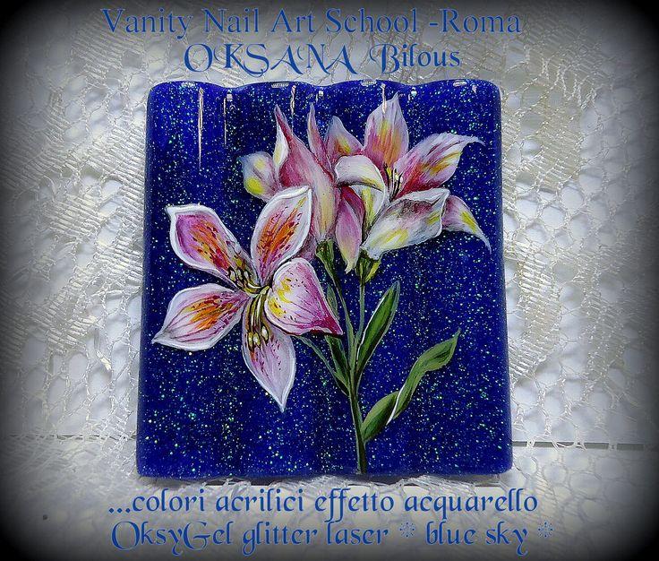 """......sfondo con il mio OksyGel glitter laser """" Blue Sky """" e design con colori acrilici effetto acquarello...."""