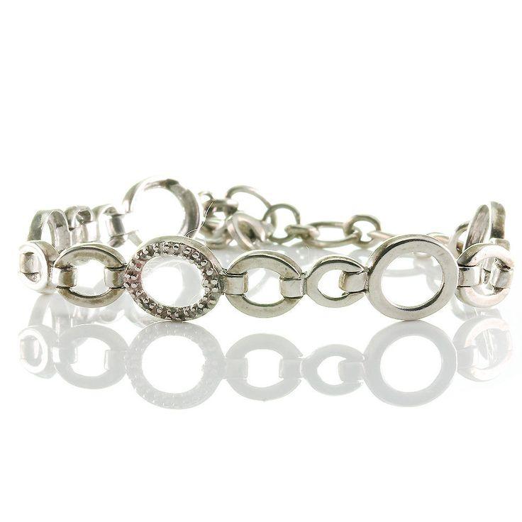 Modernes Armband bracelet echt Silber 925 mit ovalen Gliedern mit Cubic Zirkonia