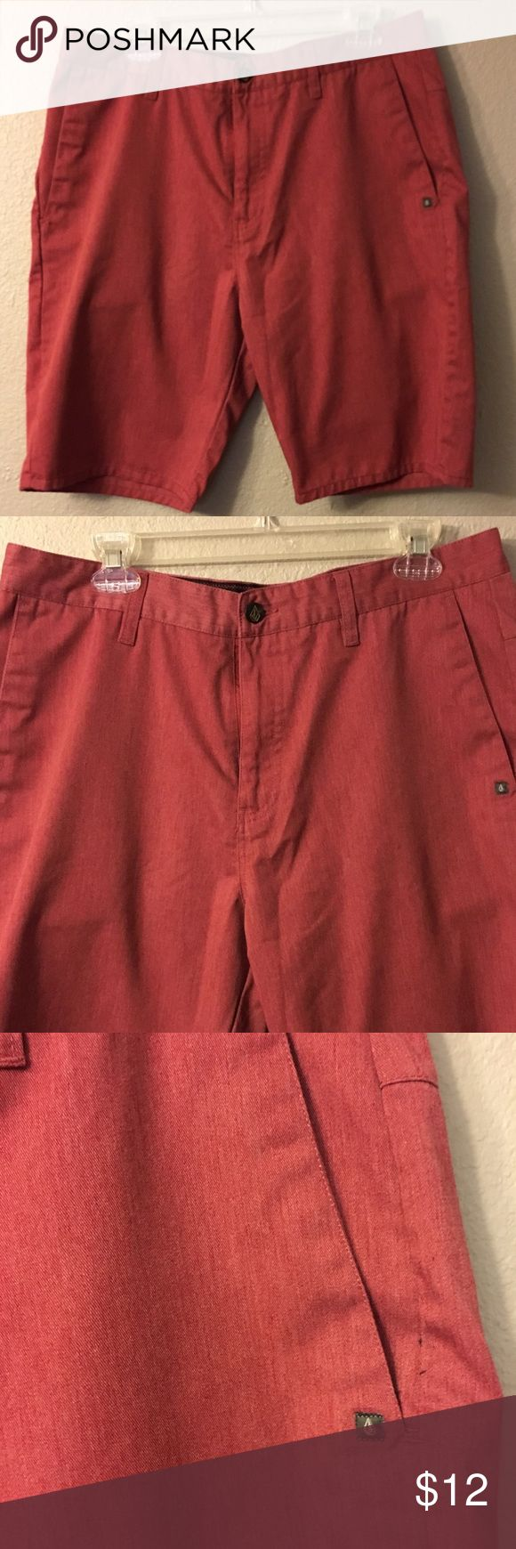 """Red Volcom Shorts EUC! Red men's Volcom Shorts that have only been worn once. The color is a bit muted and not obnoxious. Unique logo on back leg and unique detailing on pockets. Size 34 Inseam: 10"""" Volcom Shorts"""