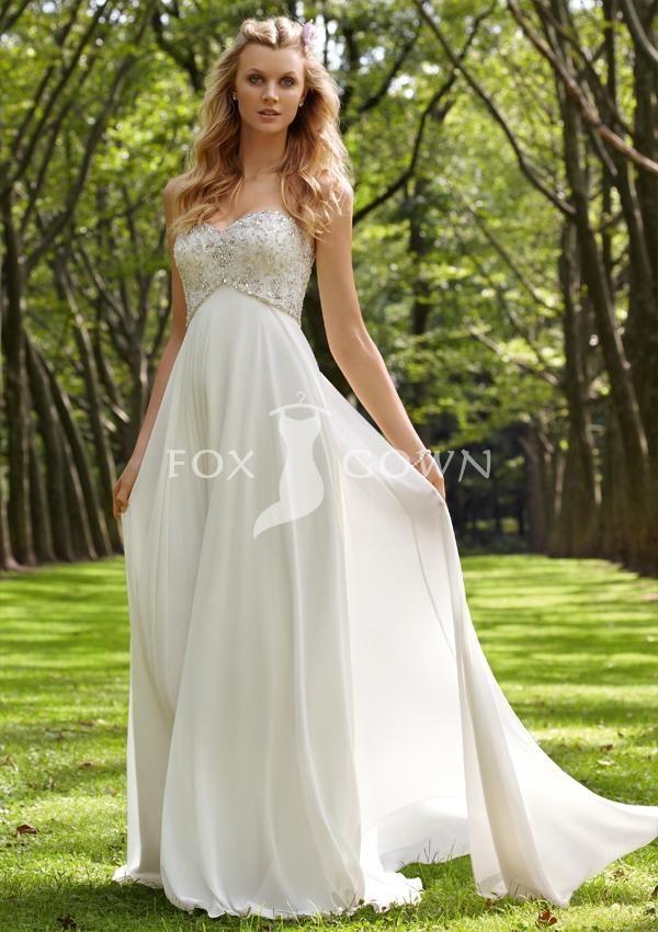 Chiffon wedding dress with beading
