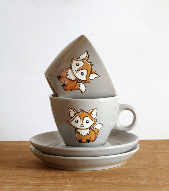 Seriously, this is too cute! - Rustic espresso cups and saucers with foxes by vitaminaeu on Etsy,
